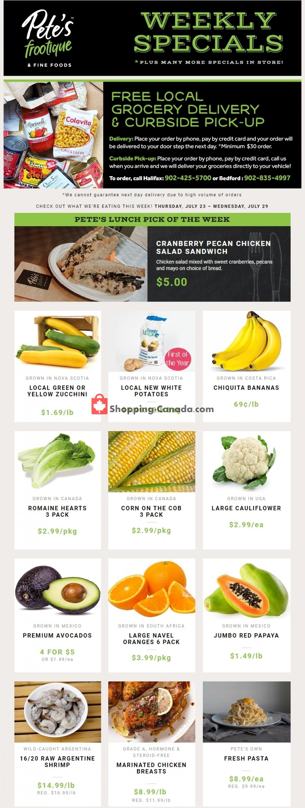 Flyer Pete's Fine Foods Canada - from Thursday July 23, 2020 to Wednesday July 29, 2020