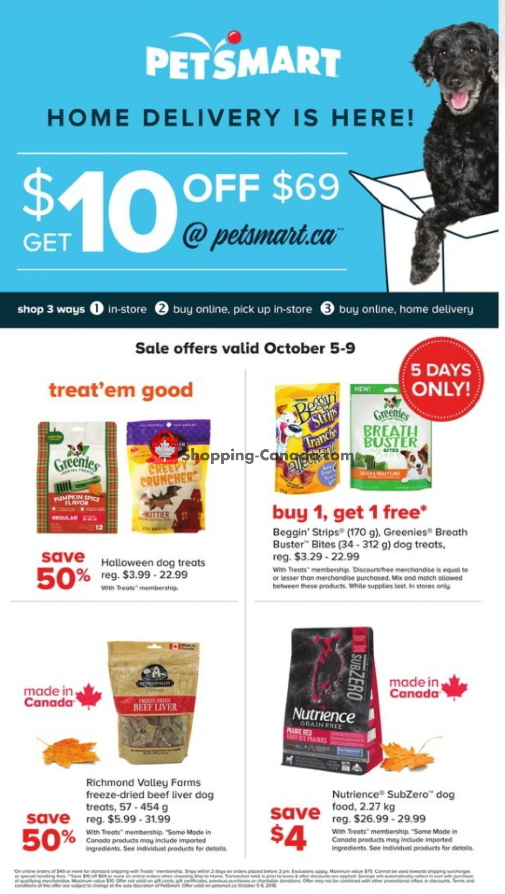 Flyer PetSmart Canada - from Friday October 5, 2018 to Tuesday October 9, 2018