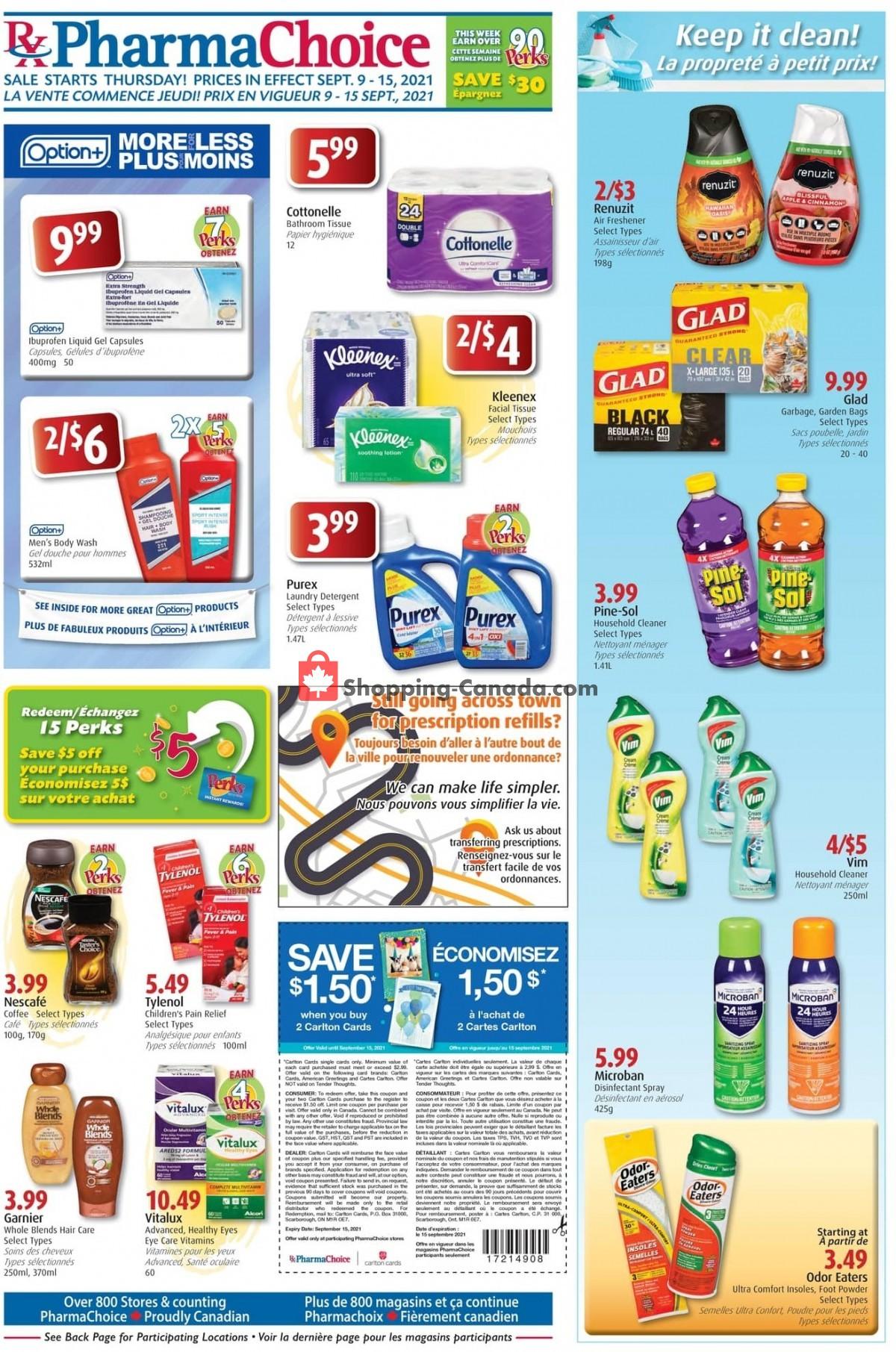 Flyer Pharma Choice Canada - from Thursday September 9, 2021 to Wednesday September 15, 2021