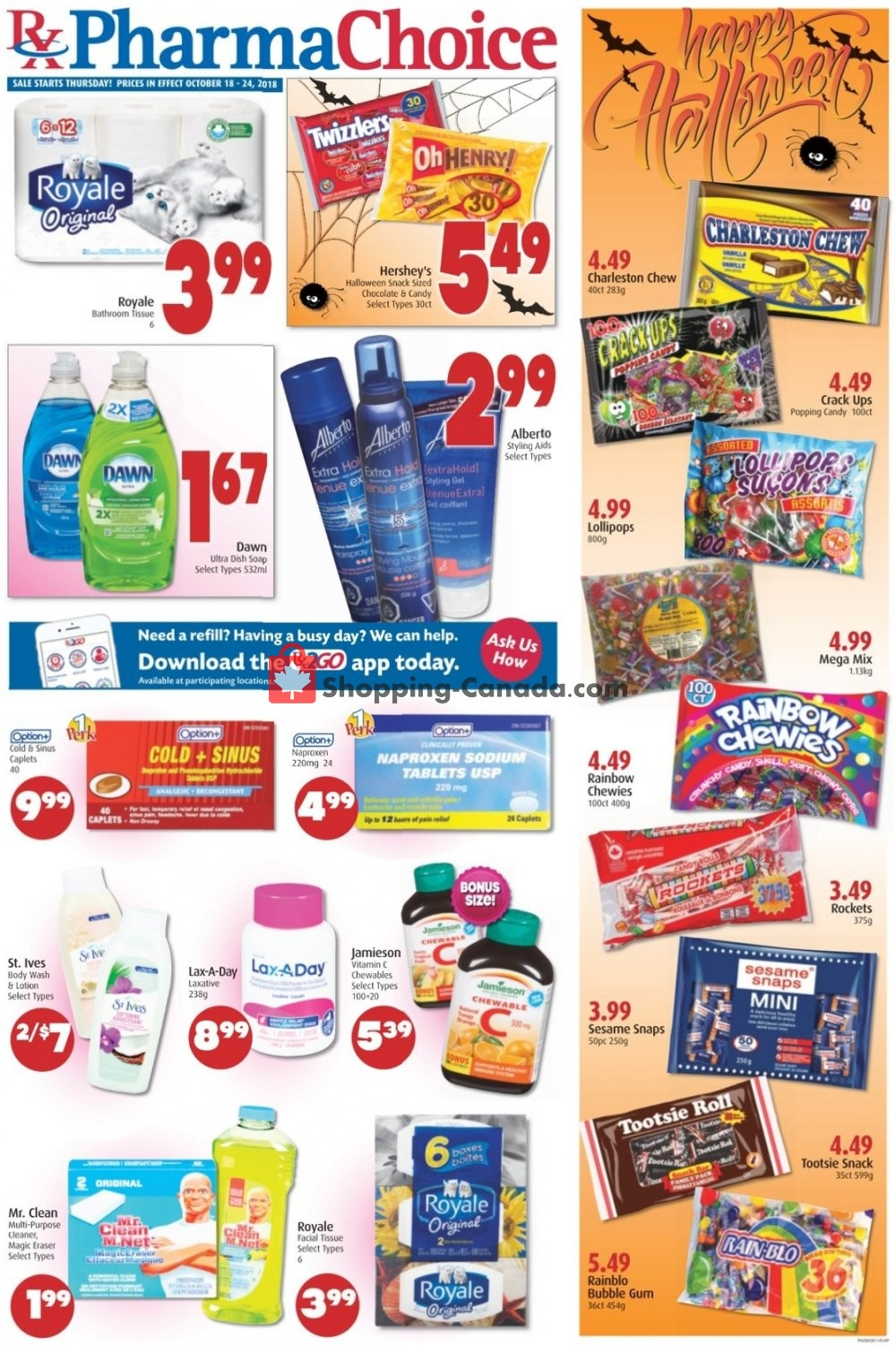 Flyer Pharma Choice Canada - from Thursday October 18, 2018 to Wednesday October 24, 2018