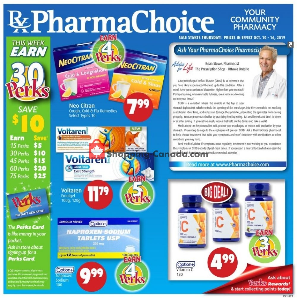 Flyer Pharma Choice Canada - from Thursday October 10, 2019 to Wednesday October 16, 2019