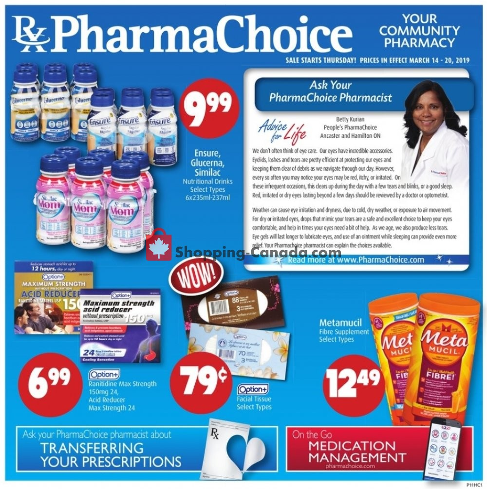 Flyer Pharma Choice Canada - from Thursday March 14, 2019 to Wednesday March 20, 2019