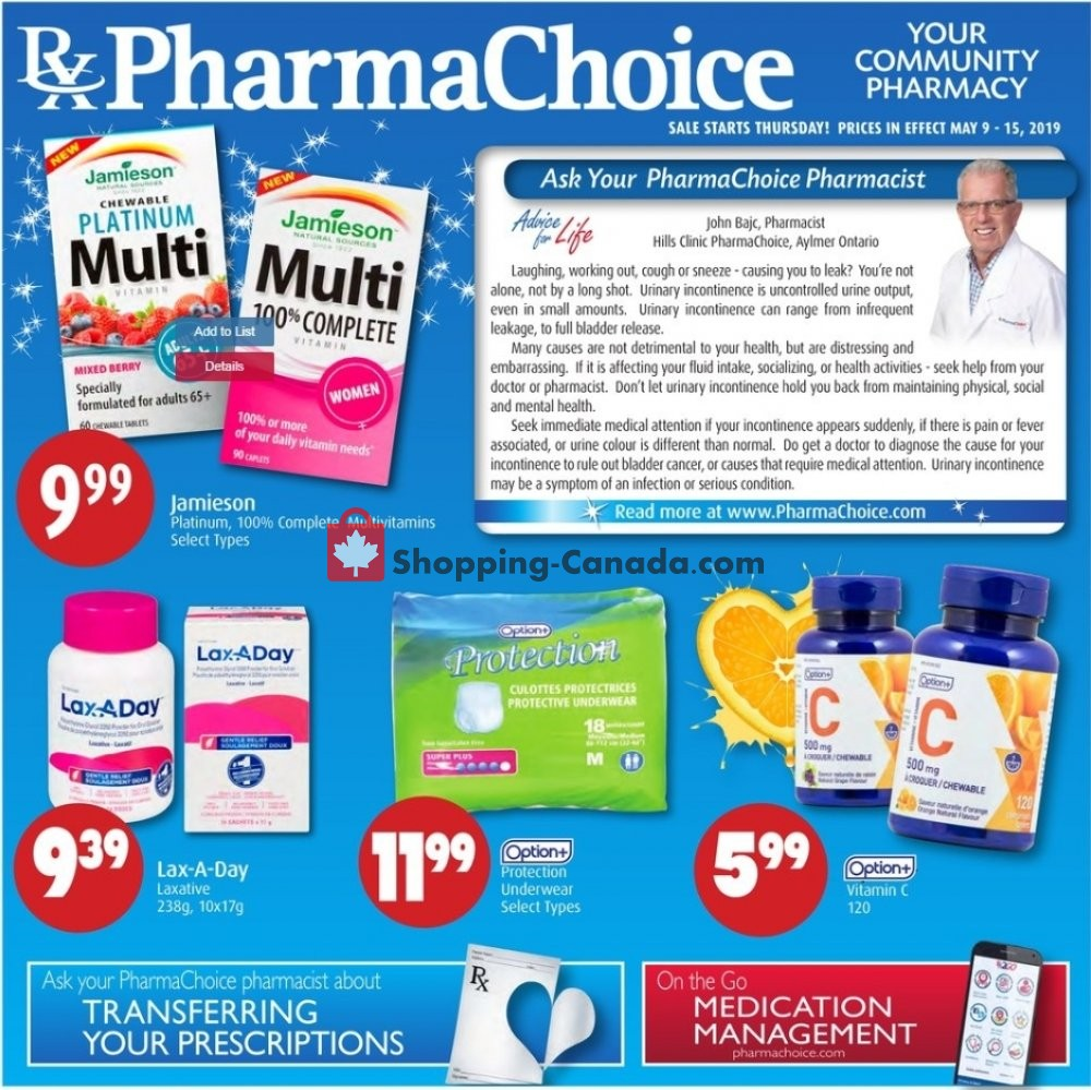 Flyer Pharma Choice Canada - from Thursday May 9, 2019 to Wednesday May 15, 2019