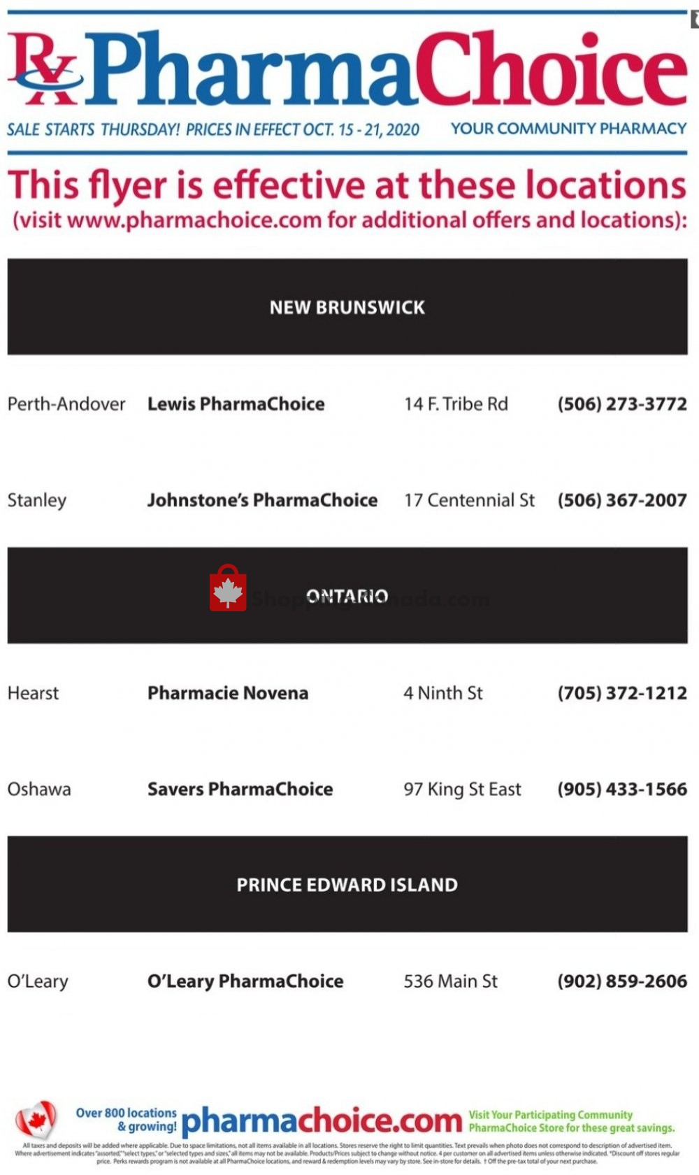 Flyer Pharma Choice Canada - from Thursday October 15, 2020 to Wednesday October 21, 2020