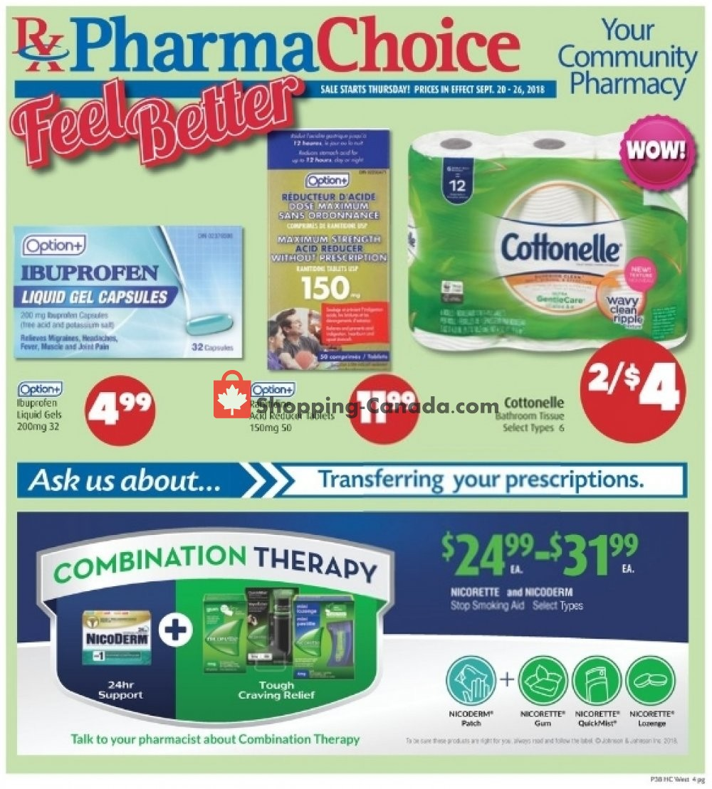 Flyer Pharma Choice Canada - from Thursday September 20, 2018 to Wednesday September 26, 2018