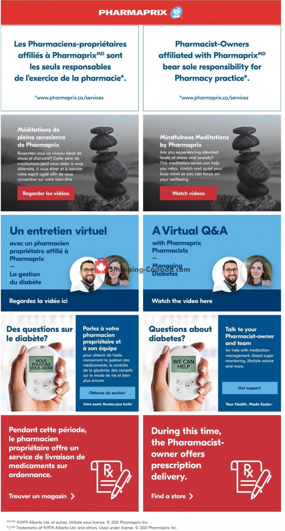Flyer Pharmaprix Canada - from Saturday October 9, 2021 to Thursday October 14, 2021