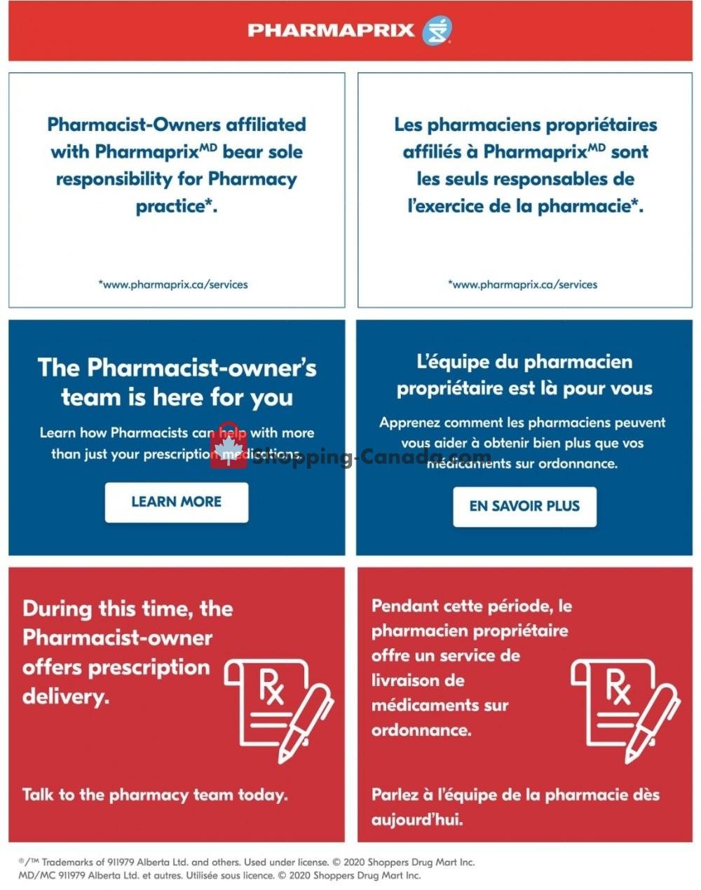Flyer Pharmaprix Canada - from Saturday May 2, 2020 to Friday May 8, 2020
