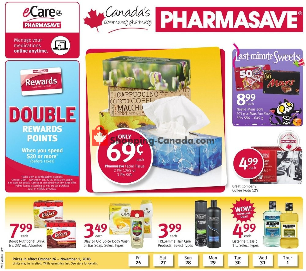 Flyer Pharmasave Canada - from Friday October 26, 2018 to Thursday November 1, 2018