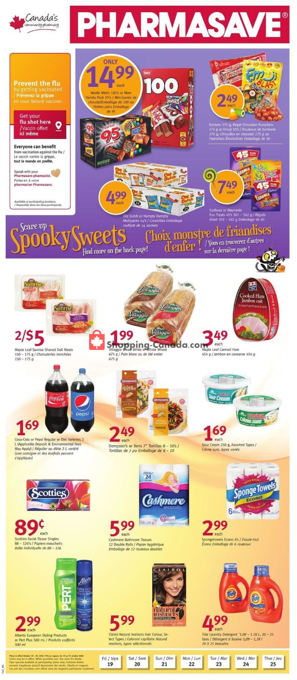 Flyer Pharmasave Canada - from Friday October 19, 2018 to Thursday October 25, 2018
