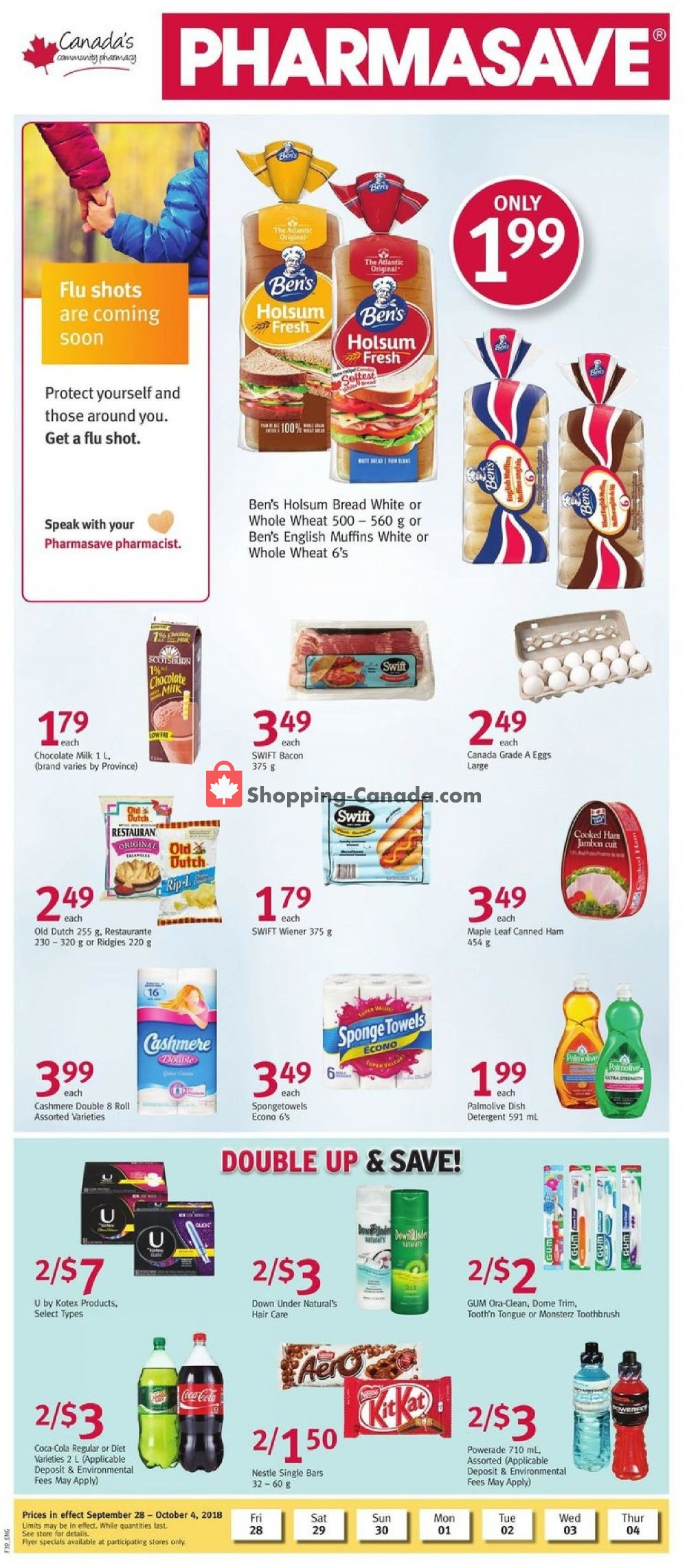 Flyer Pharmasave Canada - from Friday September 28, 2018 to Thursday October 4, 2018