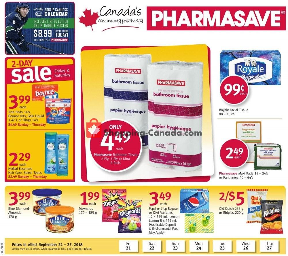 Flyer Pharmasave Canada - from Friday September 21, 2018 to Thursday September 27, 2018