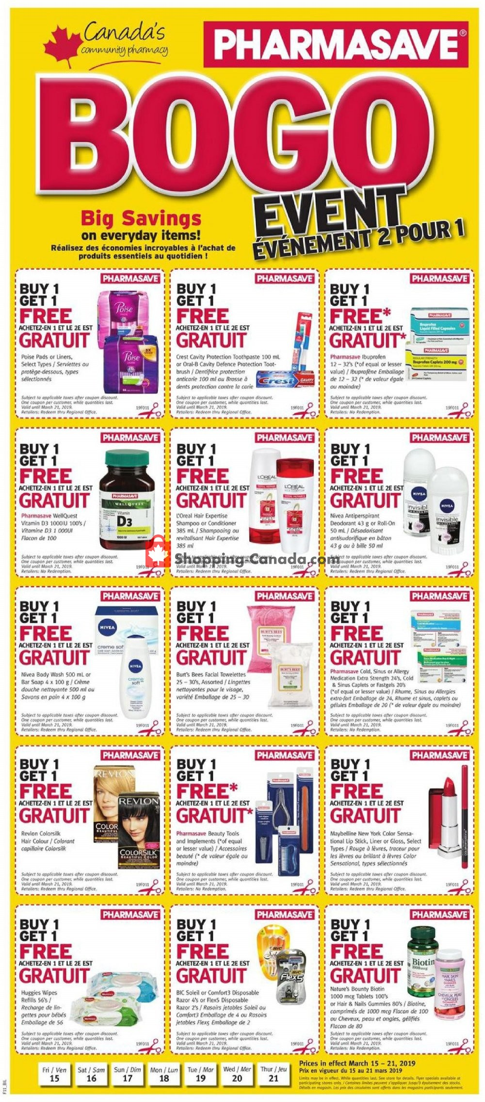 Flyer Pharmasave Canada - from Friday March 15, 2019 to Thursday March 21, 2019
