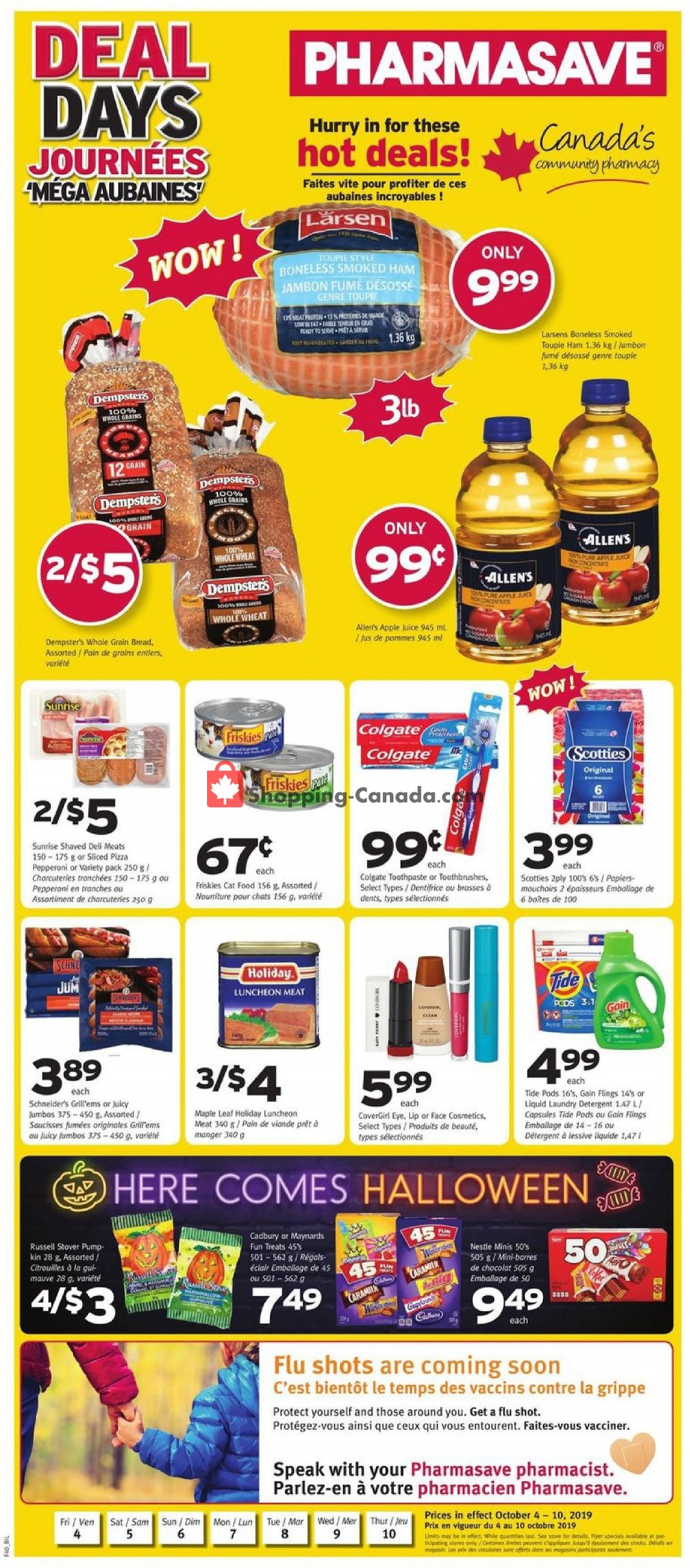 Flyer Pharmasave Canada - from Friday October 4, 2019 to Thursday October 10, 2019