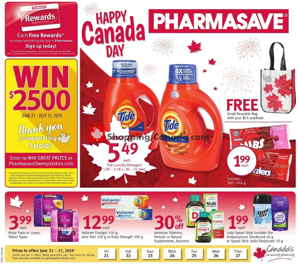 Flyer Pharmasave Canada - from Friday June 21, 2019 to Thursday June 27, 2019