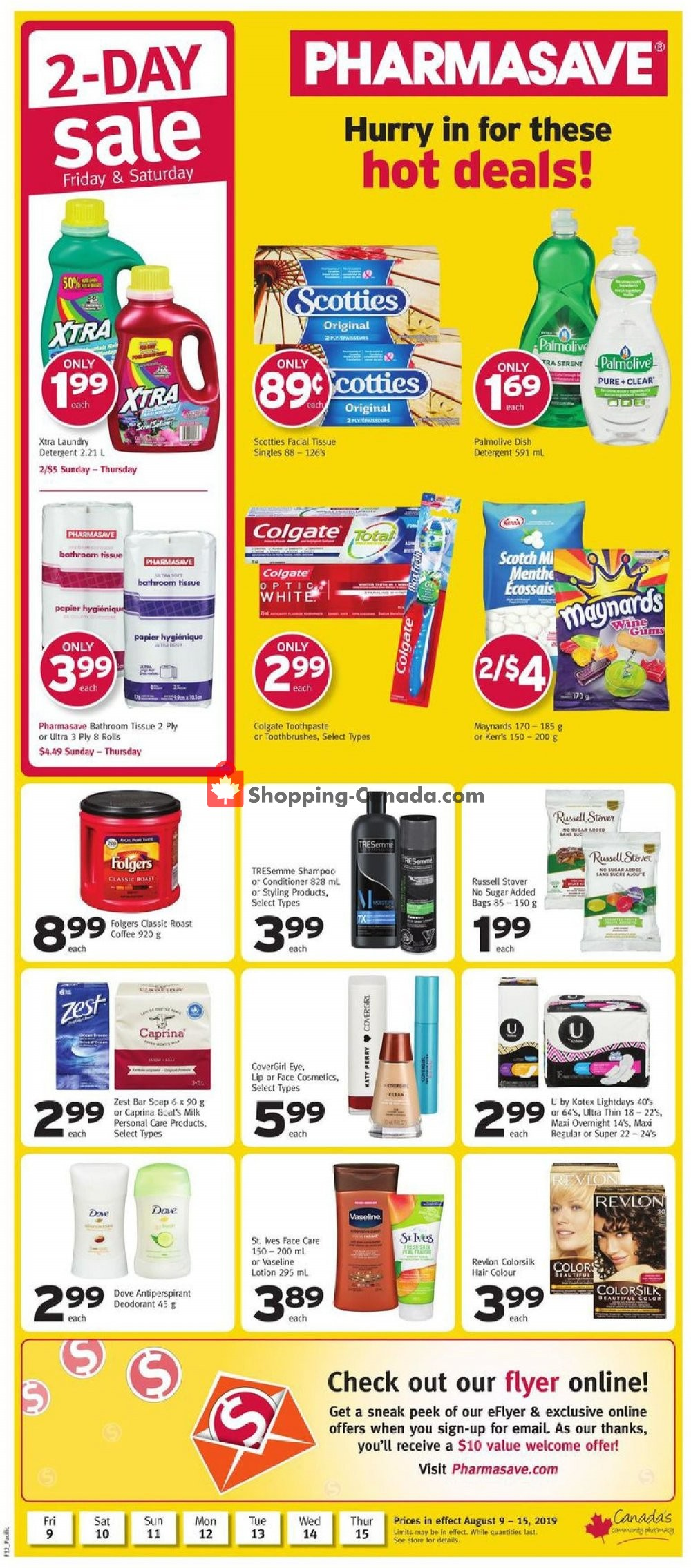 Flyer Pharmasave Canada - from Friday August 9, 2019 to Thursday August 15, 2019