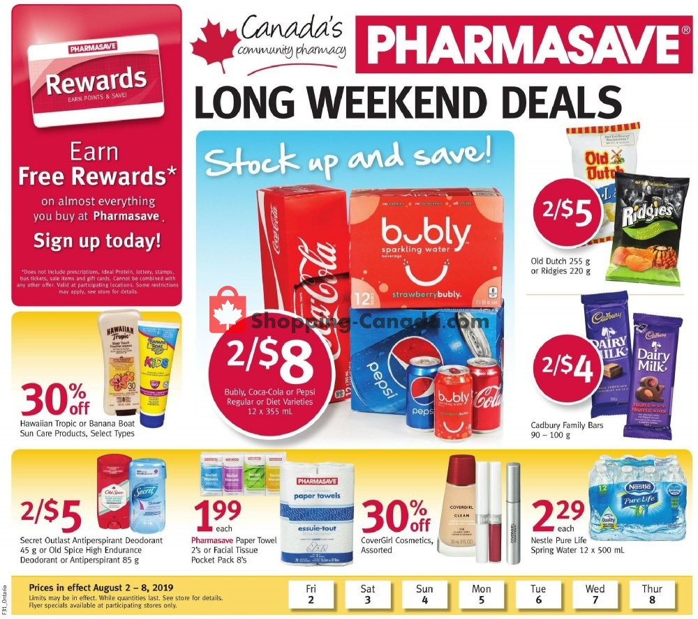 Flyer Pharmasave Canada - from Friday August 2, 2019 to Thursday August 8, 2019