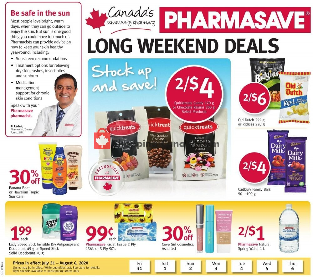 Flyer Pharmasave Canada - from Friday July 31, 2020 to Thursday August 6, 2020