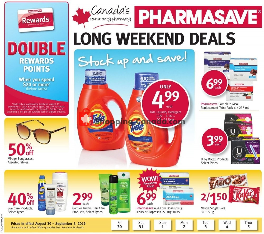 Flyer Pharmasave Canada - from Friday August 30, 2019 to Thursday September 5, 2019