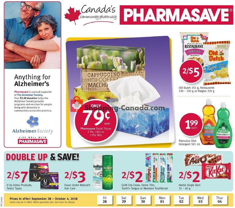 Flyer Pharmasave Canada - from Friday September 28, 2018 to Thursday October 4, 2018