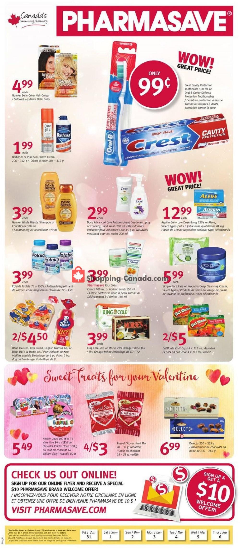Flyer Pharmasave Canada - from Friday January 31, 2020 to Thursday February 6, 2020