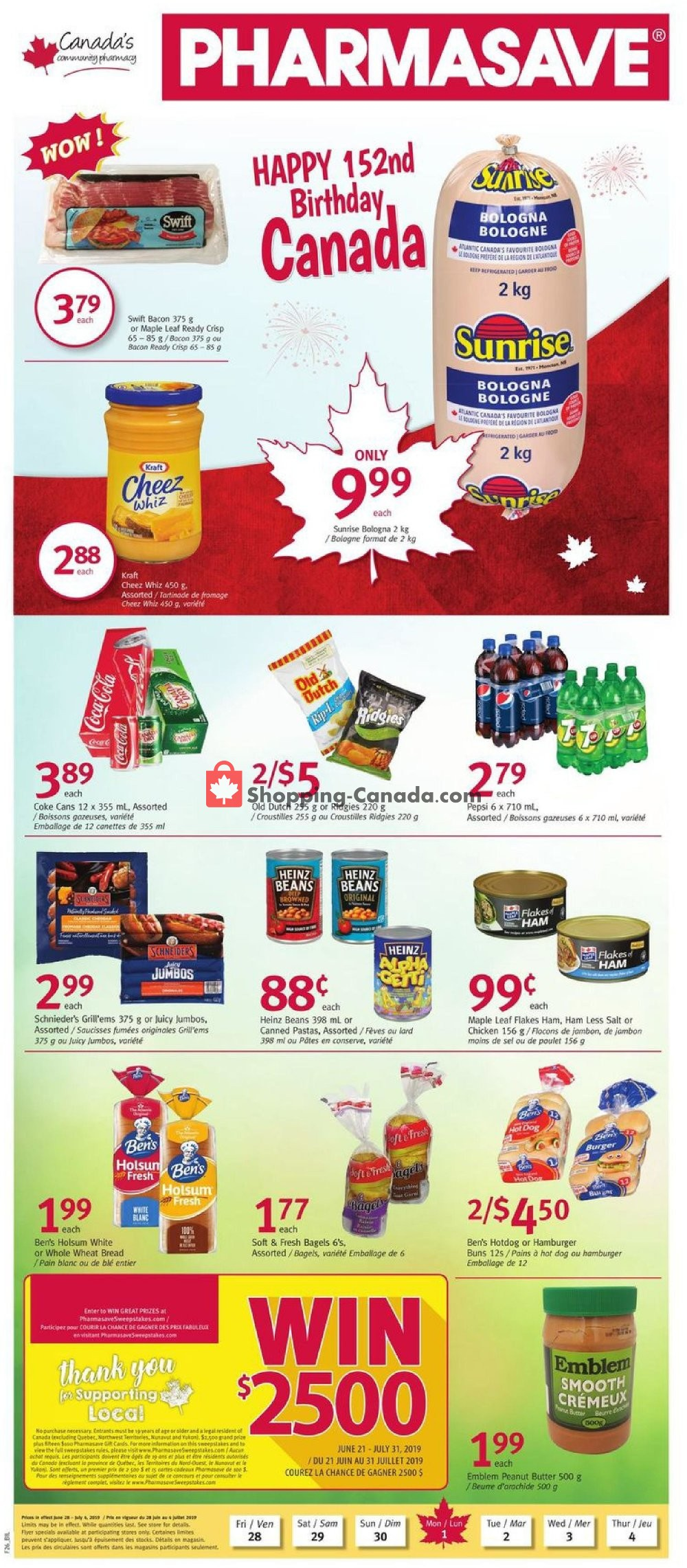 Flyer Pharmasave Canada - from Friday June 28, 2019 to Thursday July 4, 2019