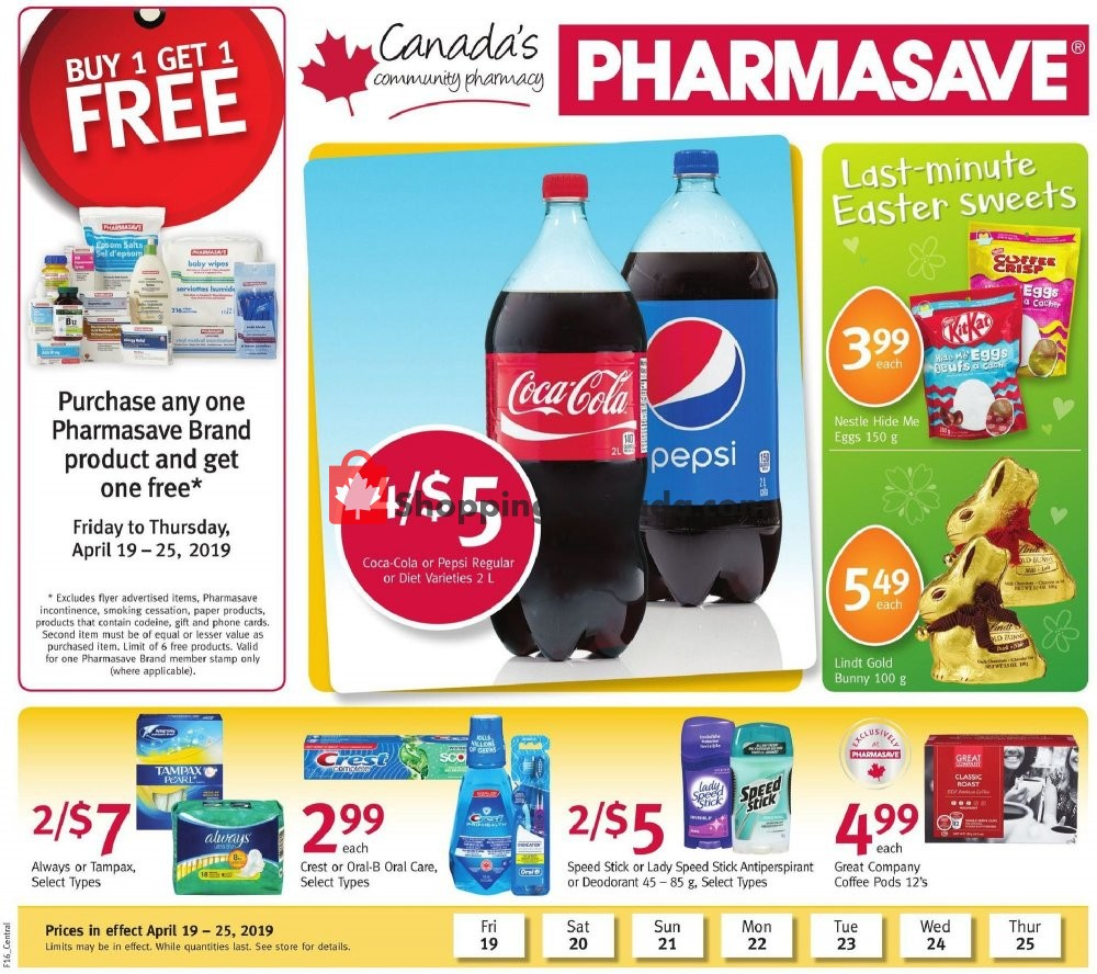 Flyer Pharmasave Canada - from Friday April 19, 2019 to Thursday April 25, 2019
