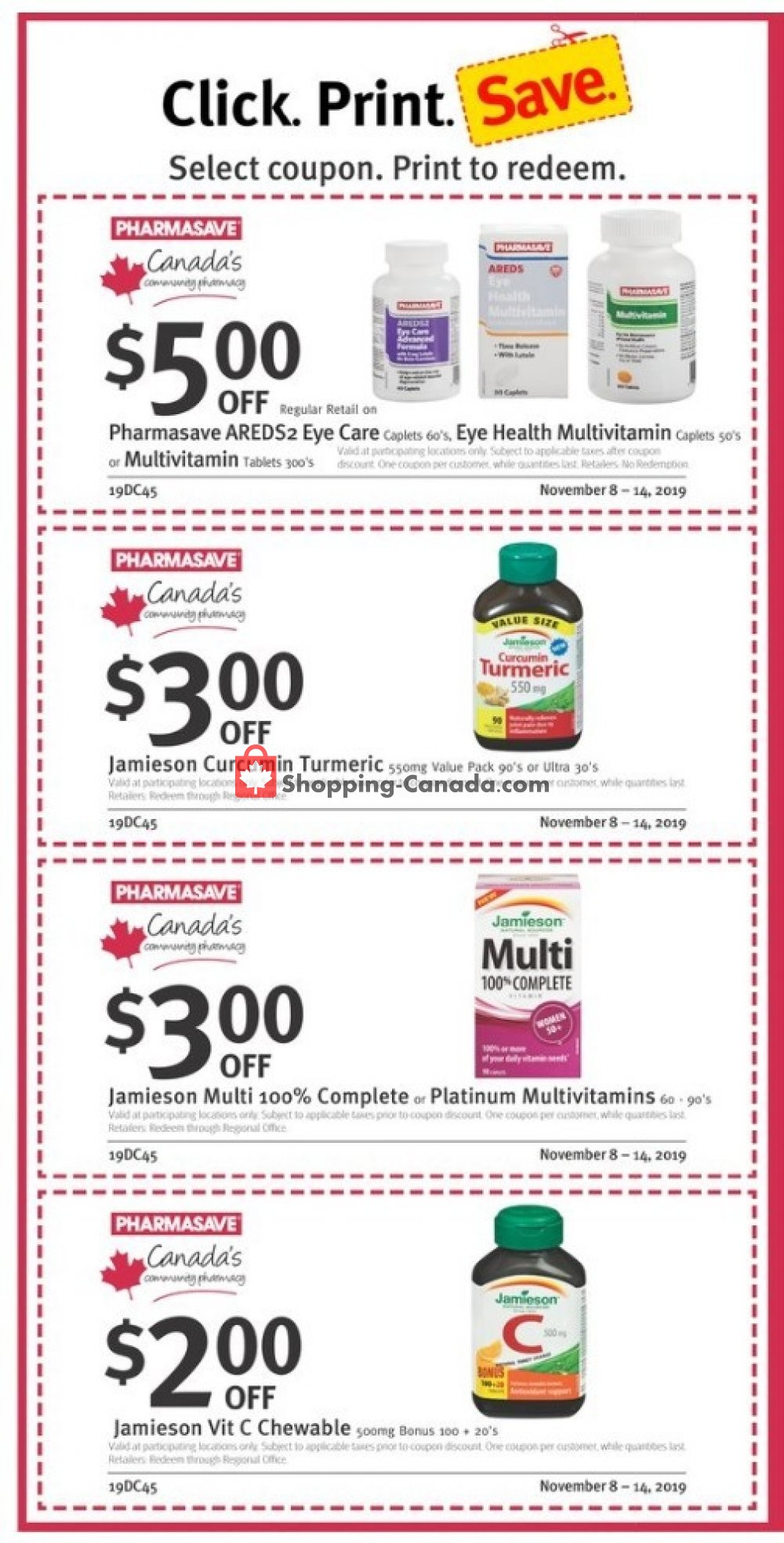 Flyer Pharmasave Canada - from Friday November 8, 2019 to Thursday November 14, 2019