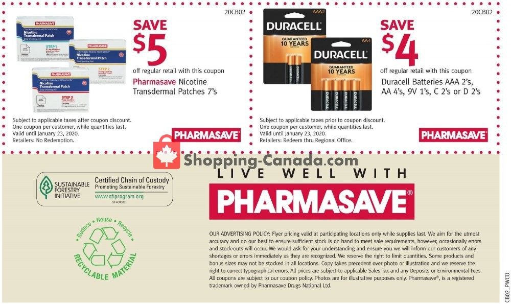 Flyer Pharmasave Canada - from Friday January 10, 2020 to Thursday January 23, 2020