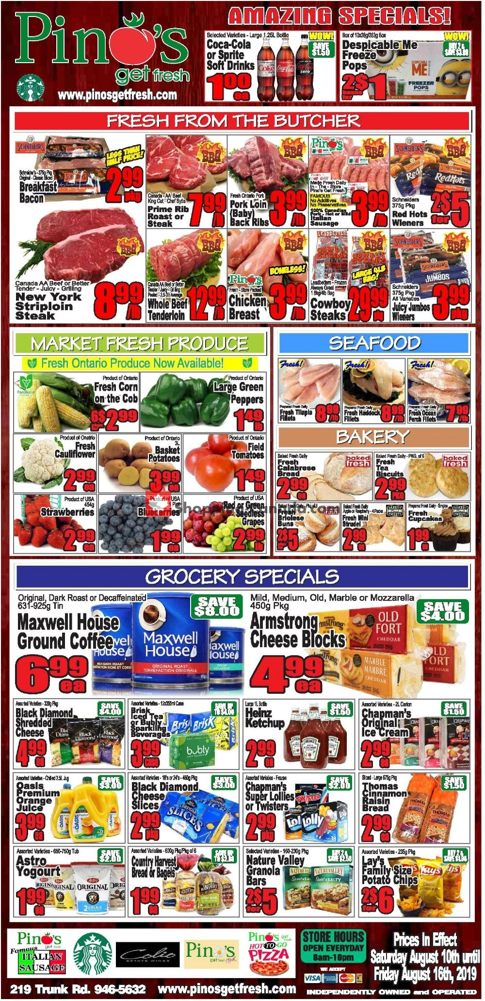Flyer Pino's Canada - from Saturday August 10, 2019 to Friday August 16, 2019