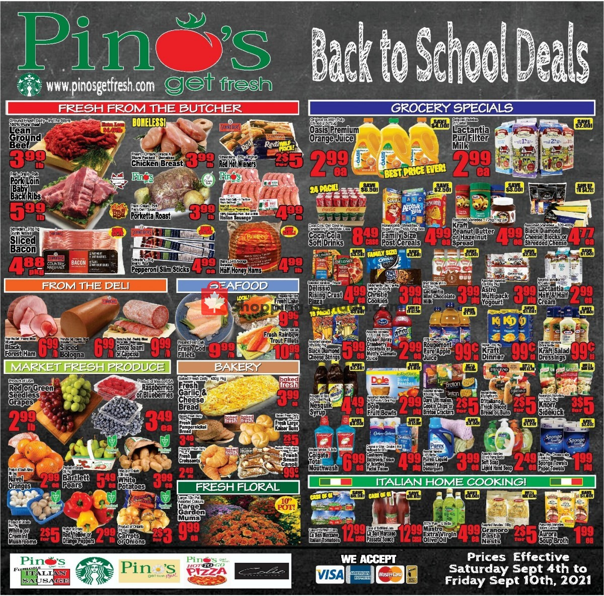 Flyer Pino's Canada - from Saturday September 4, 2021 to Friday September 10, 2021