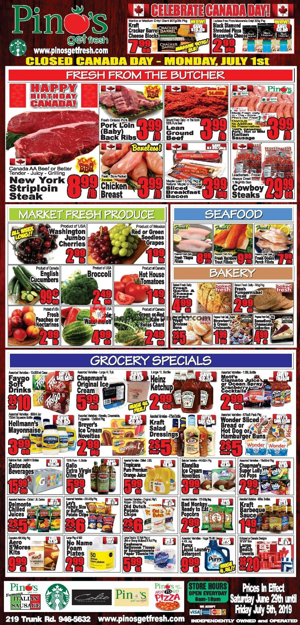 Flyer Pino's Canada - from Saturday June 29, 2019 to Friday July 5, 2019