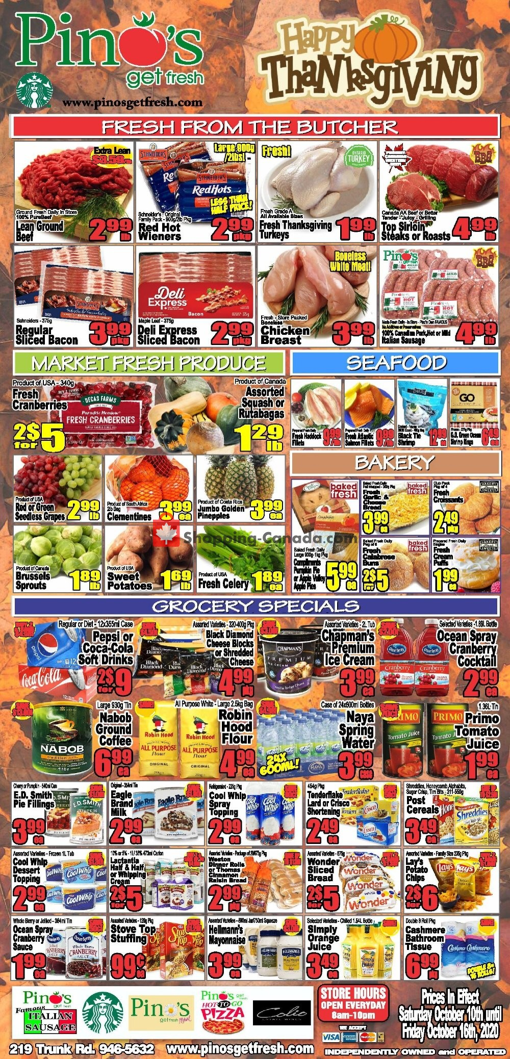 Flyer Pino's Canada - from Saturday October 10, 2020 to Friday October 16, 2020