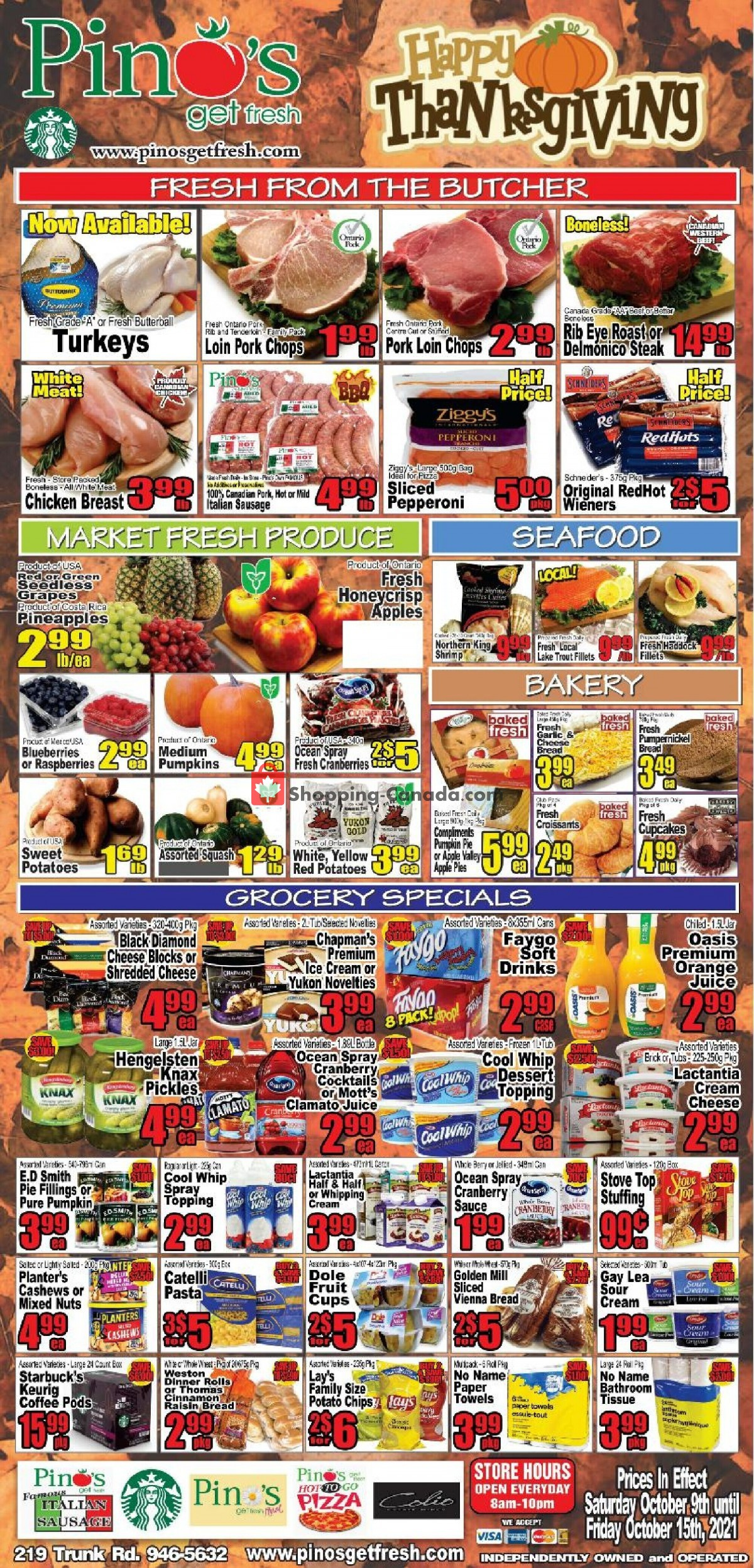 Flyer Pino's Canada - from Saturday October 9, 2021 to Friday October 15, 2021