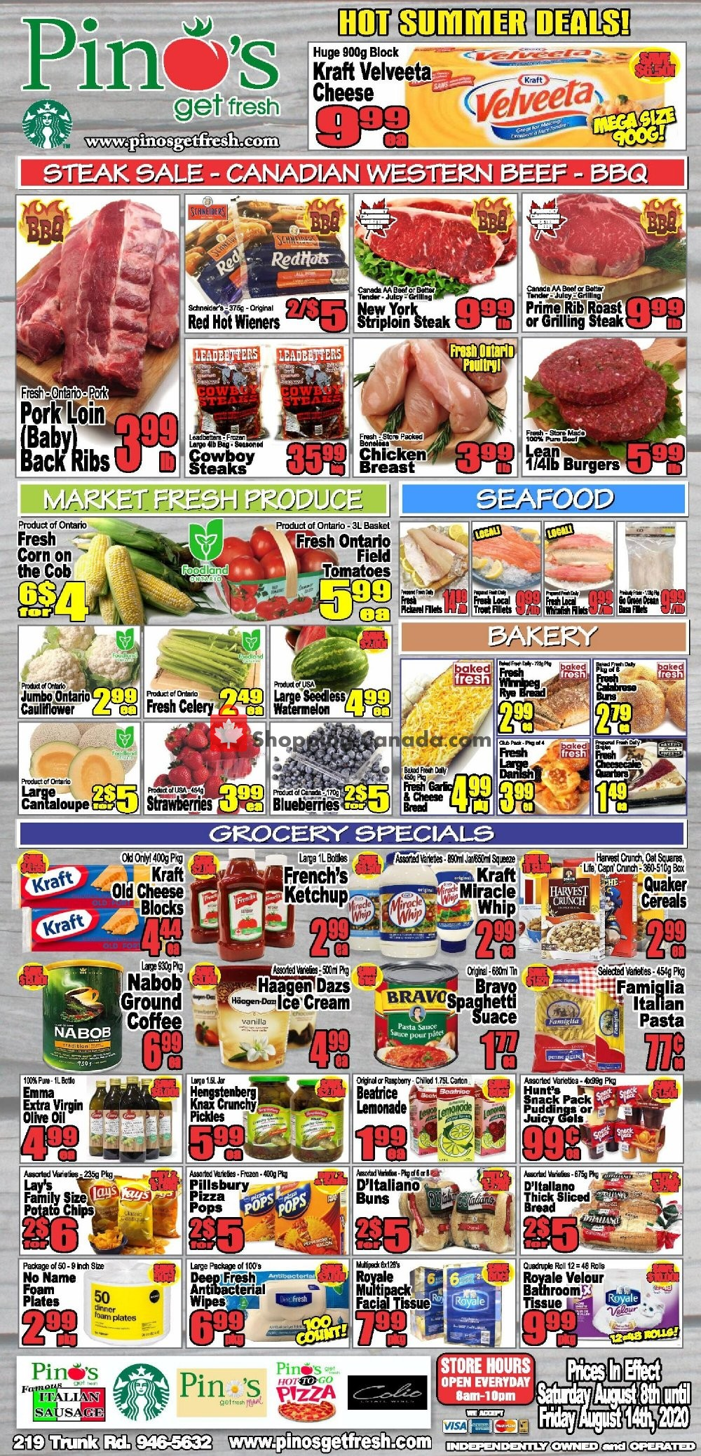 Flyer Pino's Canada - from Saturday August 8, 2020 to Friday August 14, 2020
