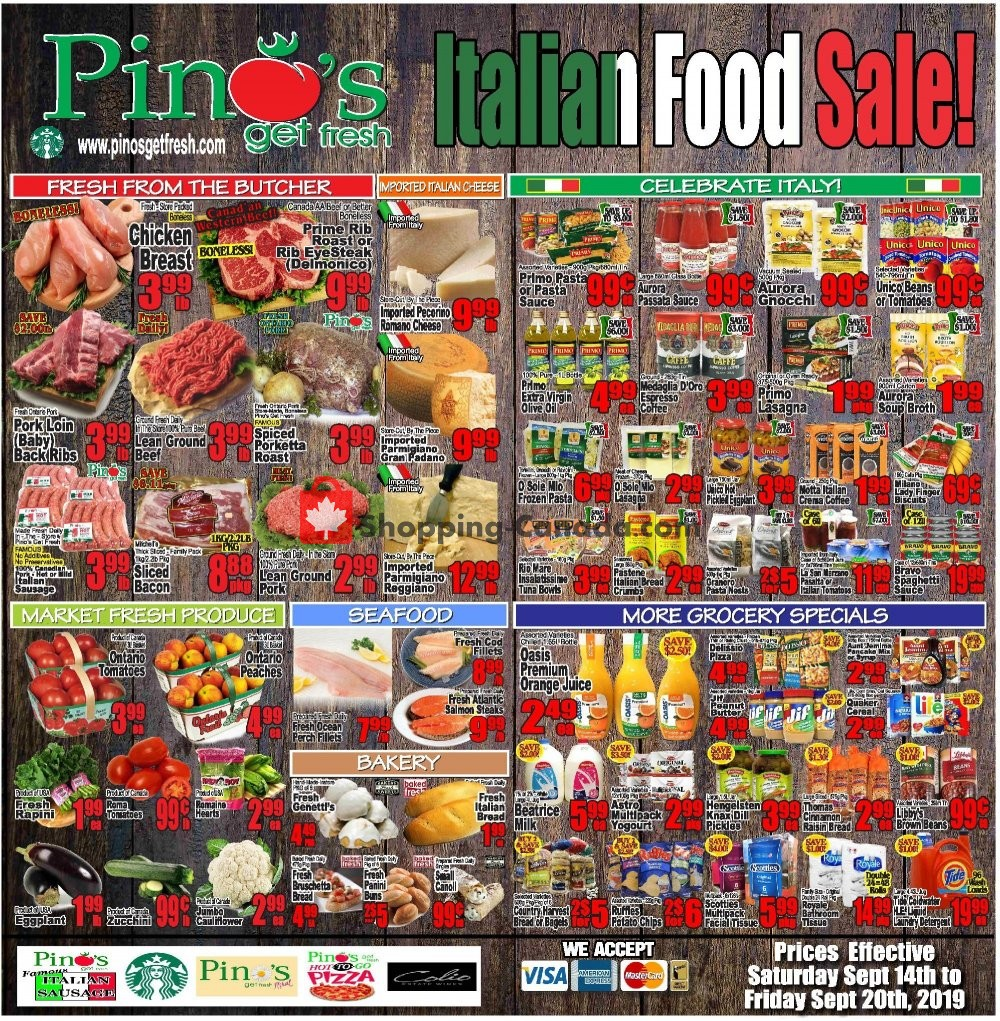 Flyer Pino's Canada - from Saturday September 14, 2019 to Friday September 20, 2019