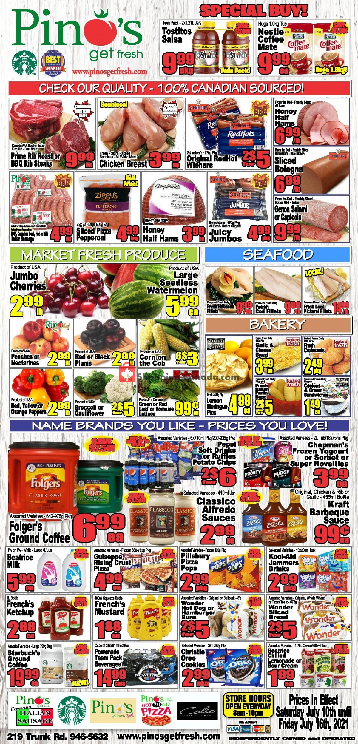 Flyer Pino's Canada - from Saturday July 10, 2021 to Friday July 16, 2021