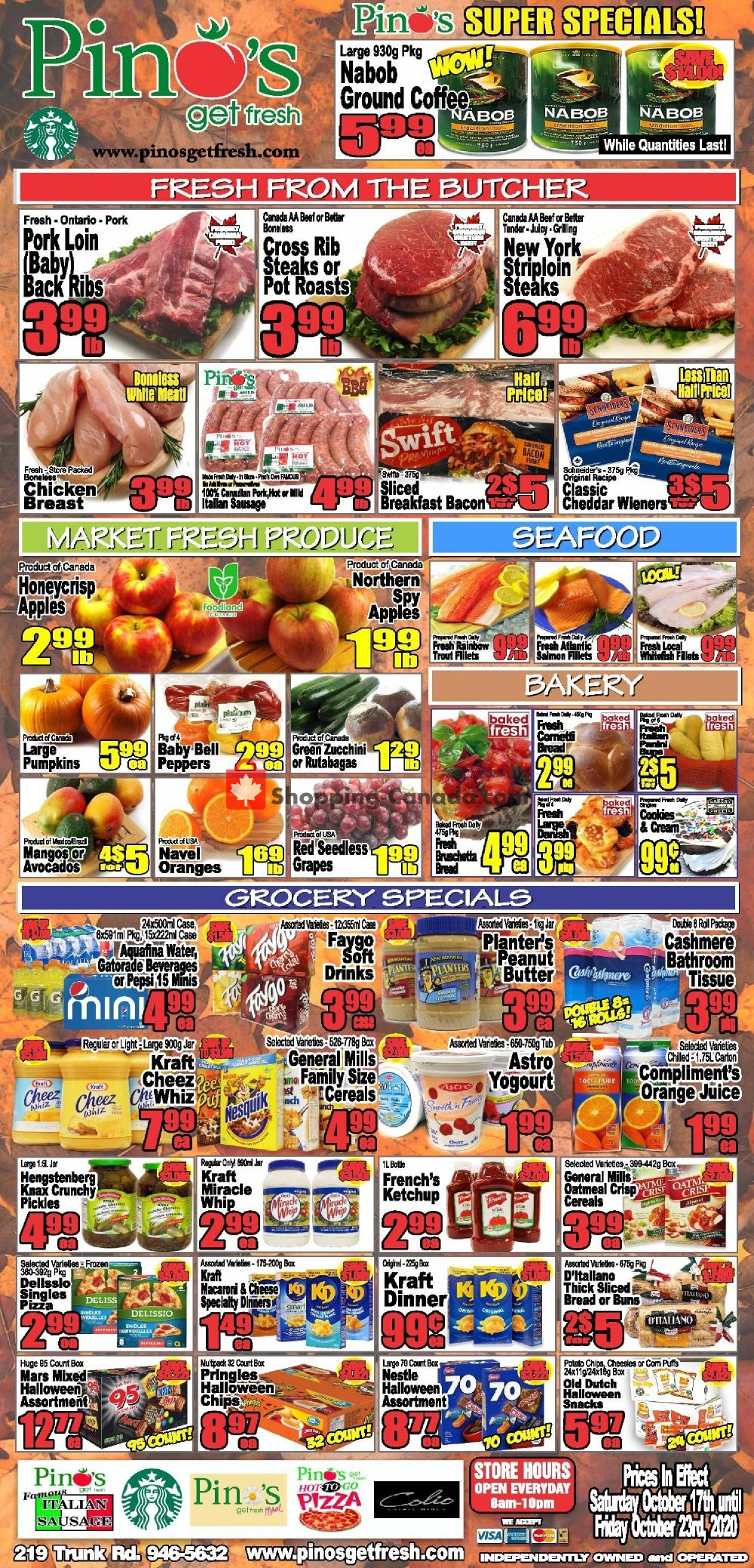 Flyer Pino's Canada - from Saturday October 17, 2020 to Friday October 23, 2020