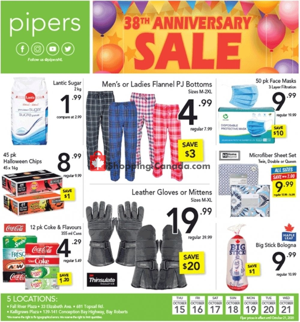 Flyer Pipers Superstore Canada - from Thursday October 15, 2020 to Wednesday October 21, 2020