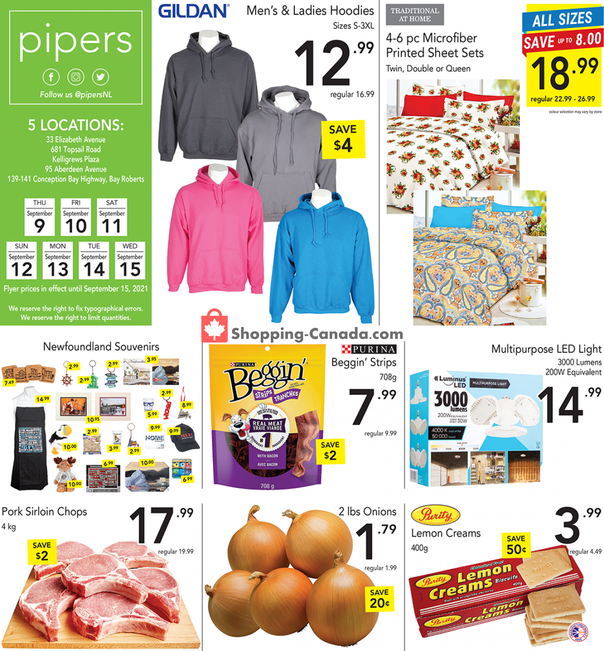 Flyer Pipers Superstore Canada - from Thursday September 9, 2021 to Wednesday September 15, 2021