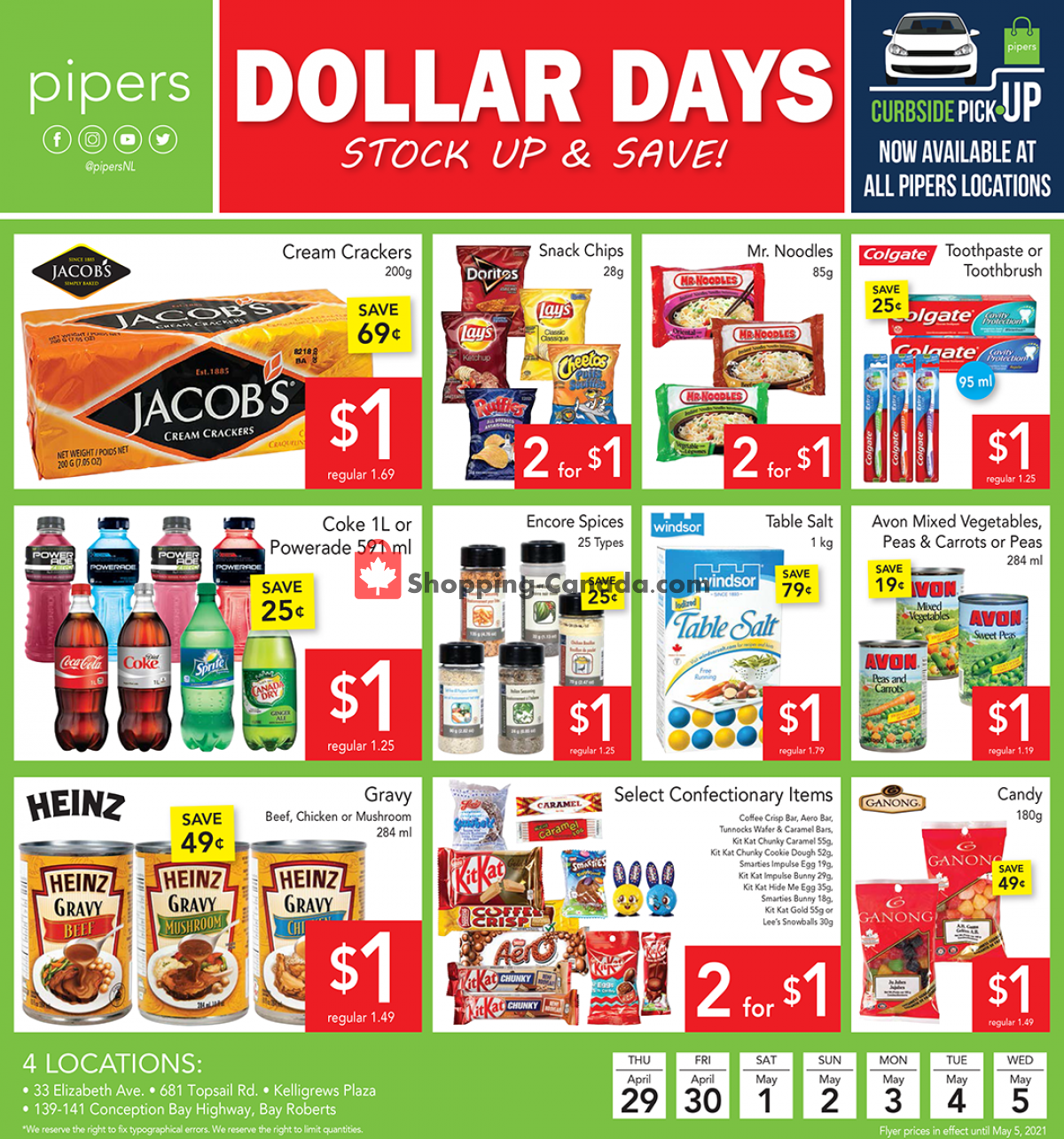 Flyer Pipers Superstore Canada - from Thursday April 29, 2021 to Wednesday May 5, 2021