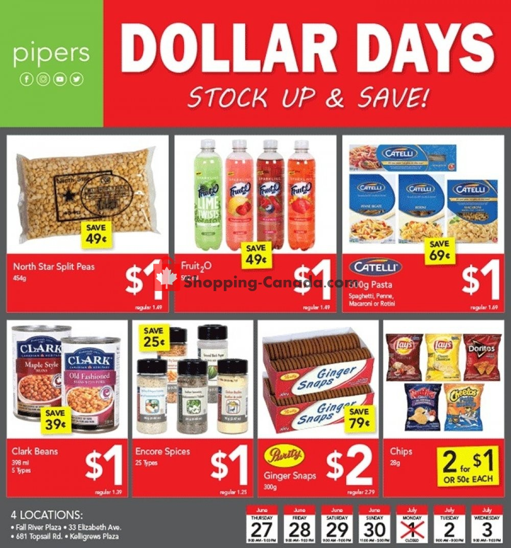 Flyer Pipers Superstore Canada - from Thursday June 27, 2019 to Wednesday July 3, 2019