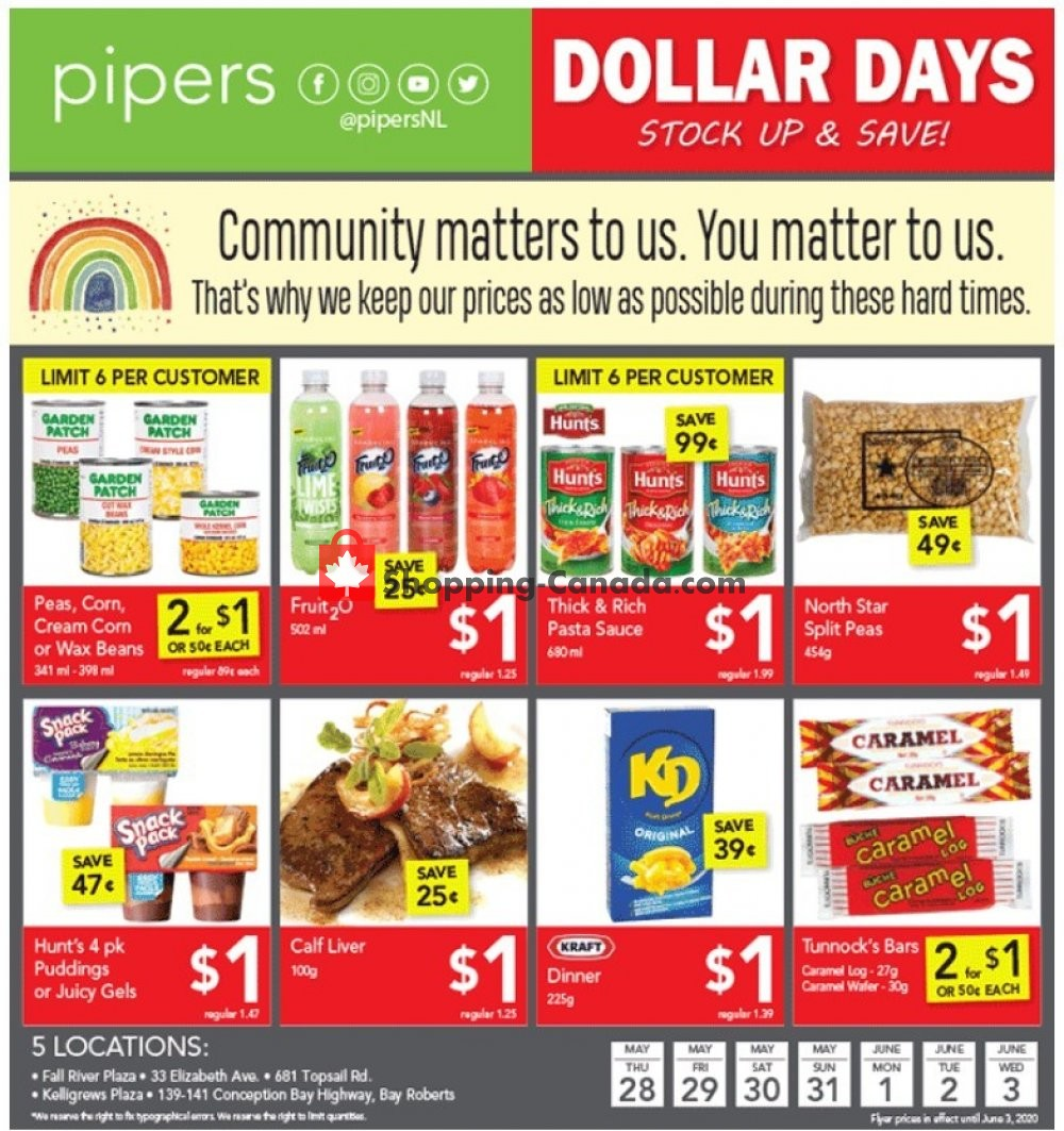 Flyer Pipers Superstore Canada - from Thursday May 28, 2020 to Wednesday June 3, 2020