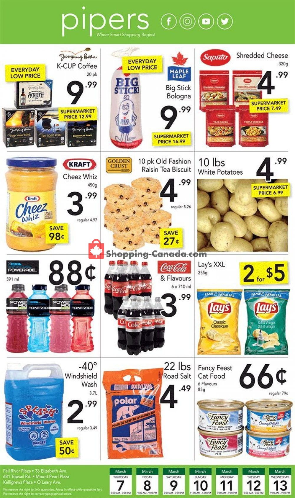 Flyer Pipers Superstore Canada - from Thursday March 7, 2019 to Wednesday March 13, 2019