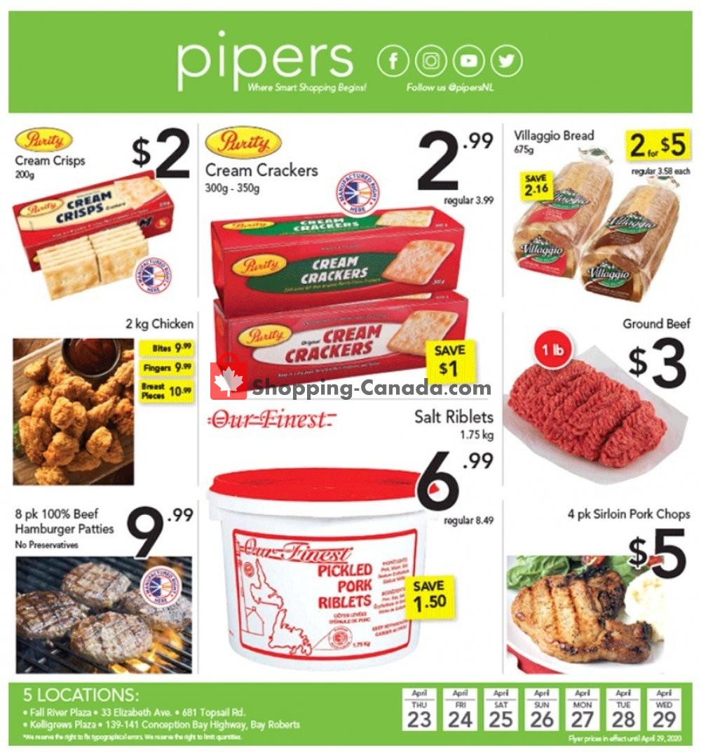 Flyer Pipers Superstore Canada - from Thursday April 23, 2020 to Wednesday April 29, 2020