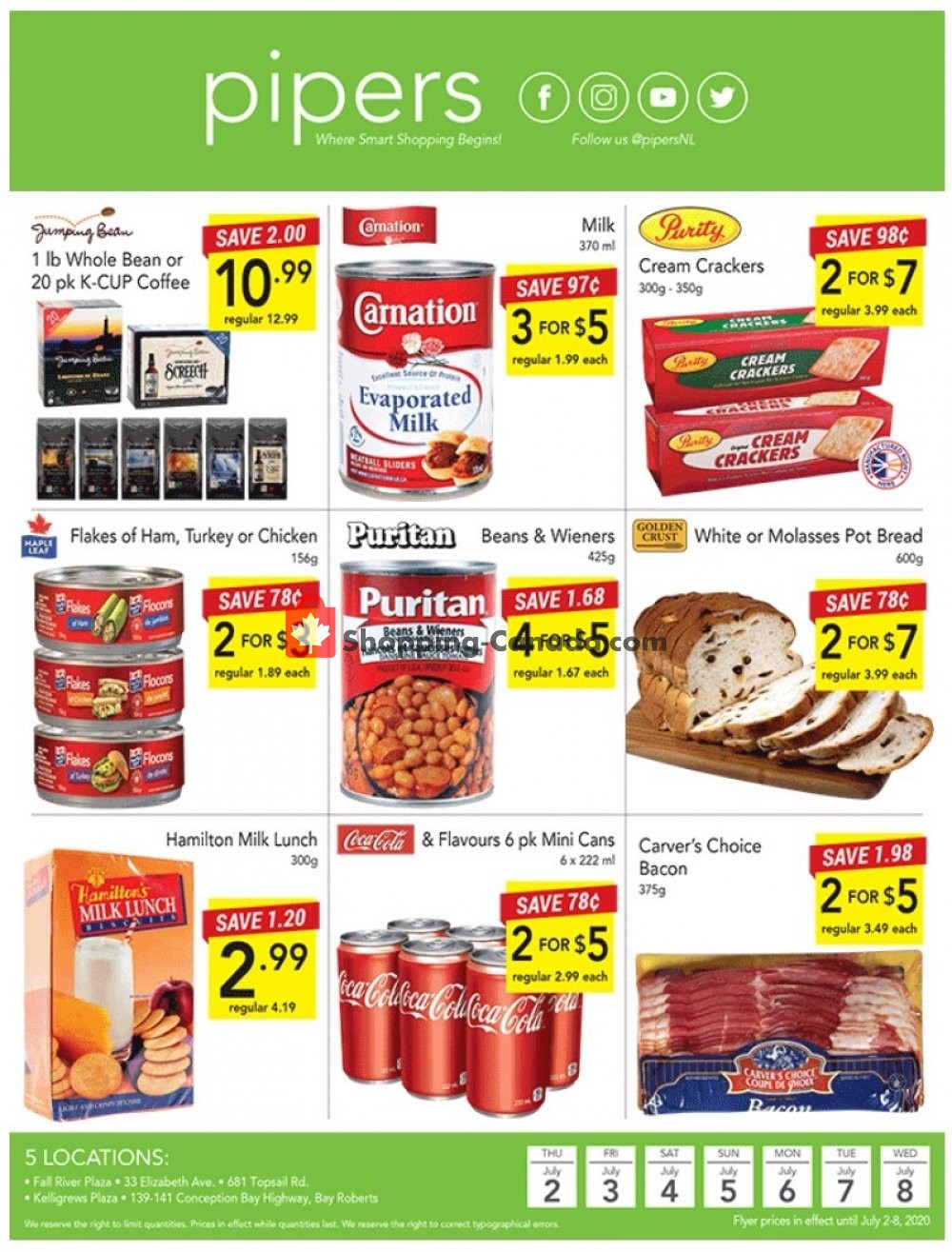 Flyer Pipers Superstore Canada - from Thursday July 2, 2020 to Wednesday July 8, 2020