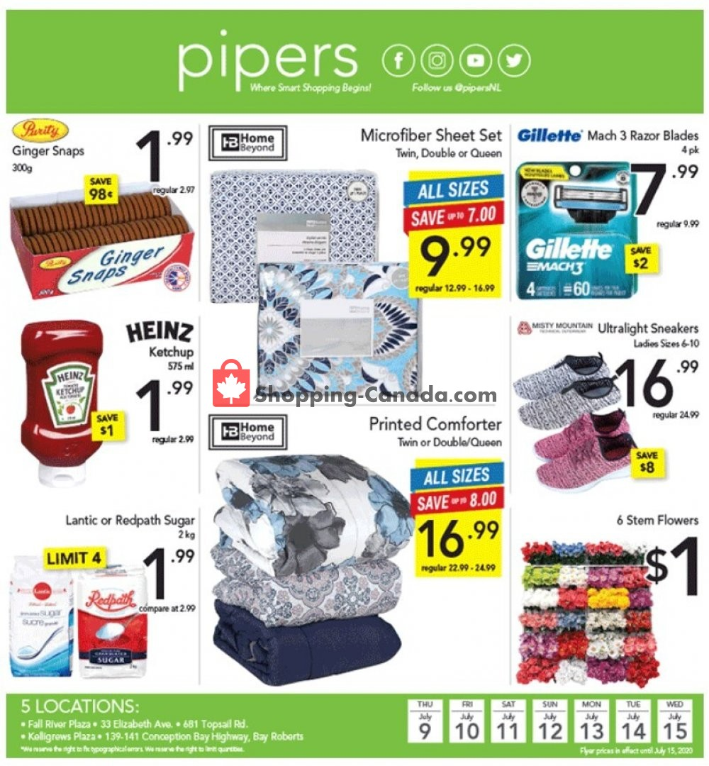 Flyer Pipers Superstore Canada - from Thursday July 9, 2020 to Wednesday July 15, 2020