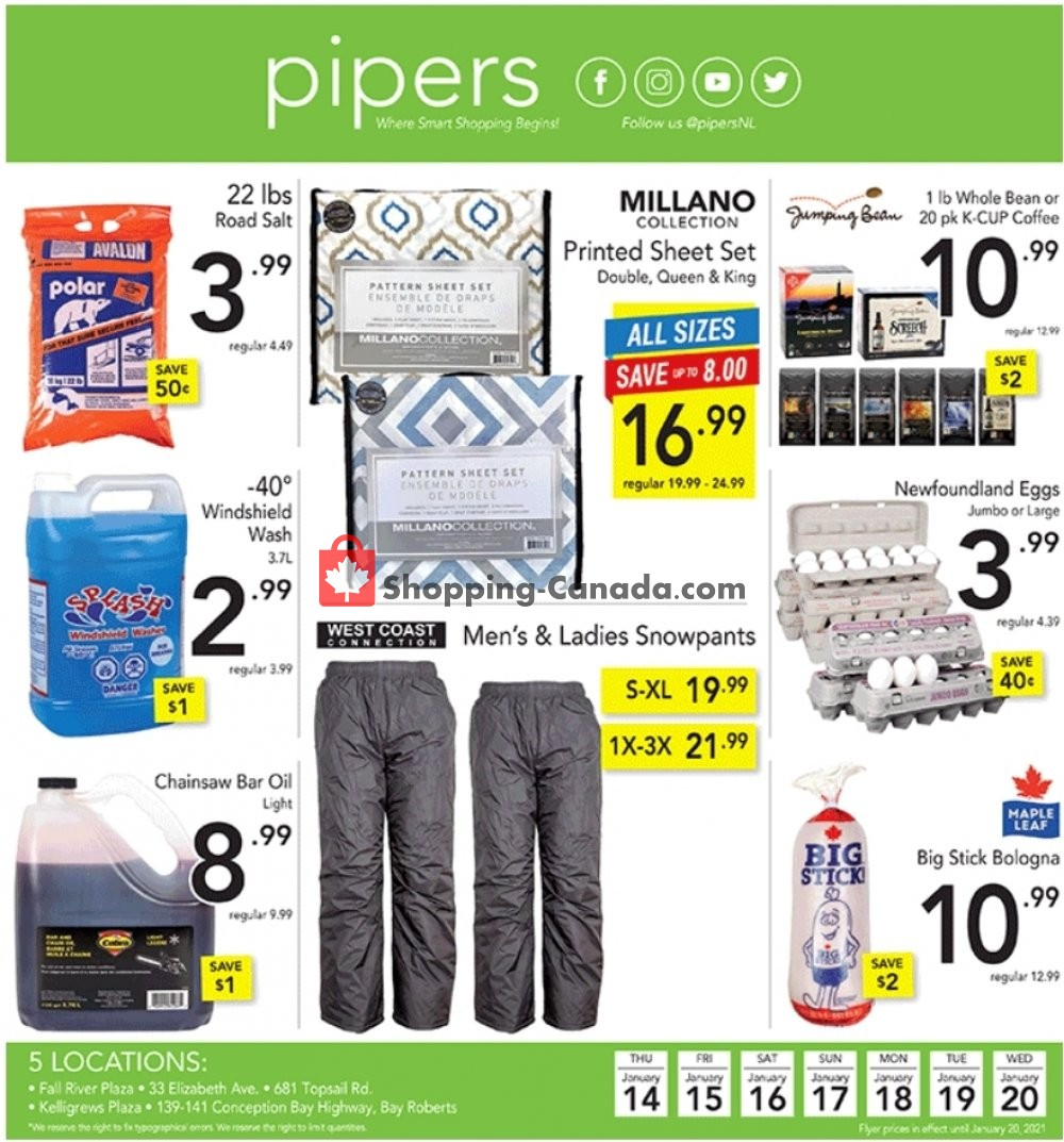 Flyer Pipers Superstore Canada - from Thursday January 14, 2021 to Wednesday January 20, 2021
