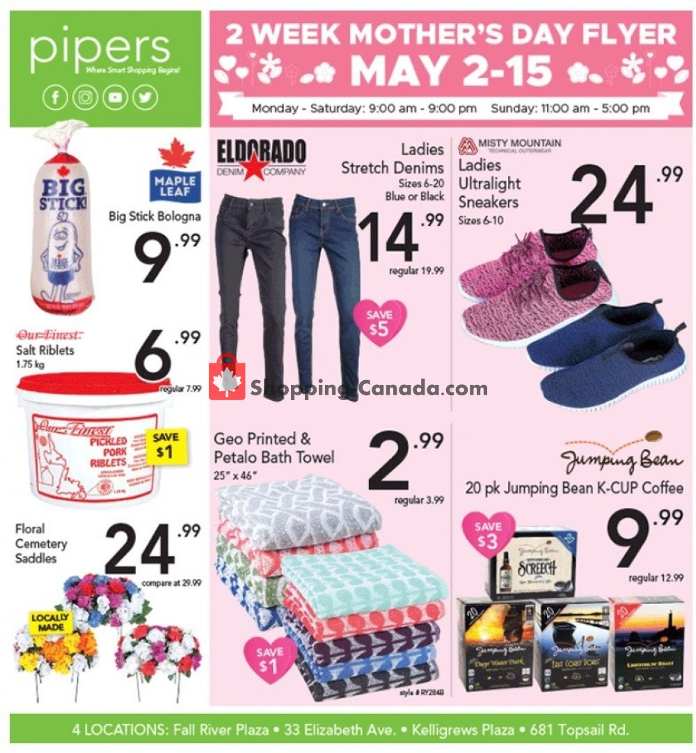 Flyer Pipers Superstore Canada - from Thursday May 2, 2019 to Wednesday May 15, 2019