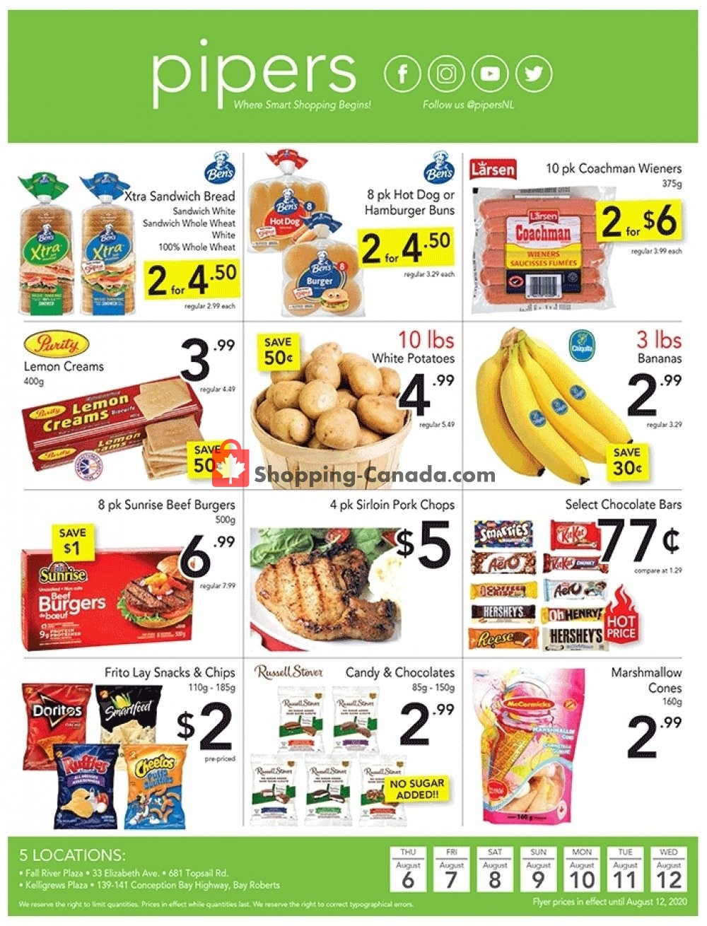 Flyer Pipers Superstore Canada - from Thursday August 6, 2020 to Wednesday August 12, 2020
