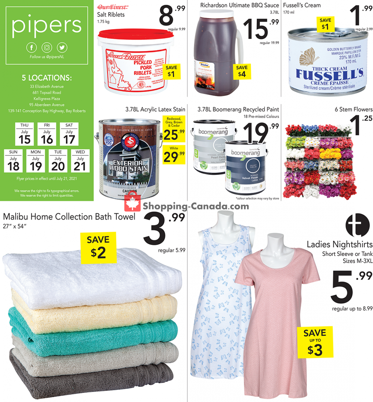 Flyer Pipers Superstore Canada - from Thursday July 15, 2021 to Wednesday July 21, 2021